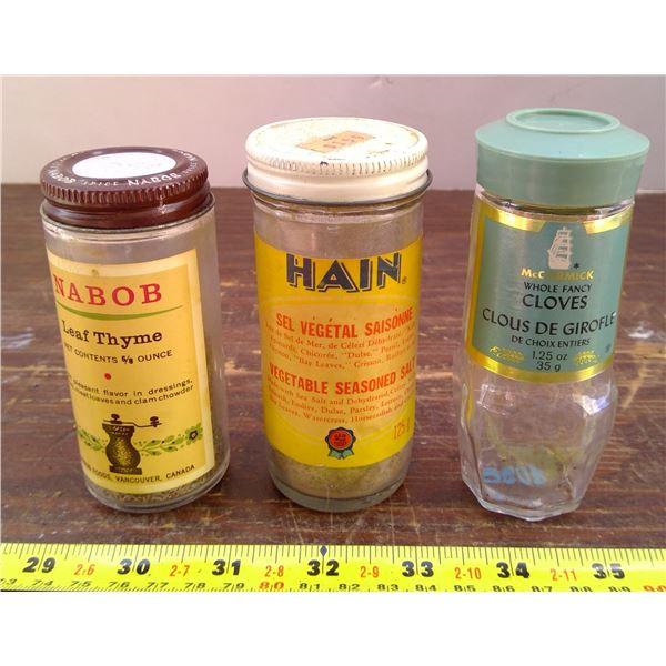 Hain Sea Salt, Nabob Leaf Thyme, McCormick Cloves