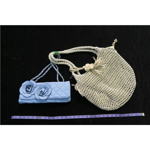 #1269 - 2 Purses; 1 Blue / 1 Tan Knit