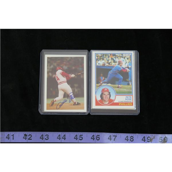#1295 - Pete Rose Autographed card and 3 - 1984 Cards