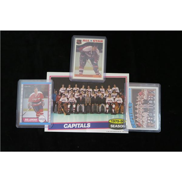 #1302 - Washington Capitals Lot; 2 Rod Langway Cards, 1976-77 Team Checklist Unmarked & Rare 1980-81