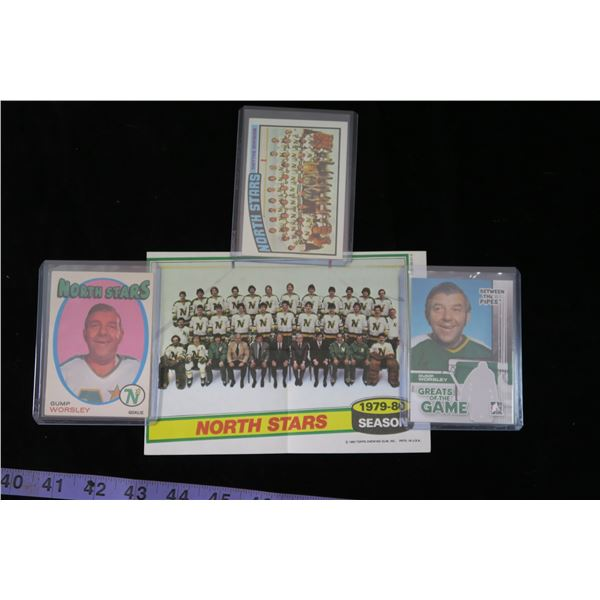 #1303 - Minnesota North Stars Lot; 1971-72 OPC Gump Worsley, Greats of the Game Card, 1976-77 Team