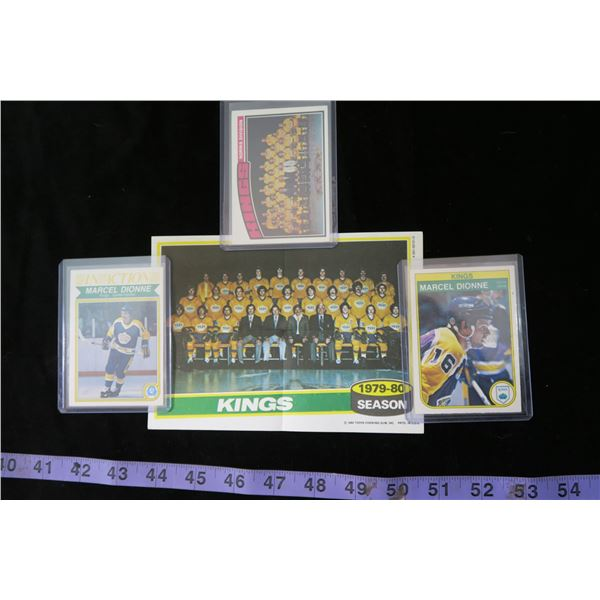#1305 - Los Angeles Kings Lot; 1982-83 O-Pee-Chee Marcel Dionne and In Actions Cards, 1976-77 Team C
