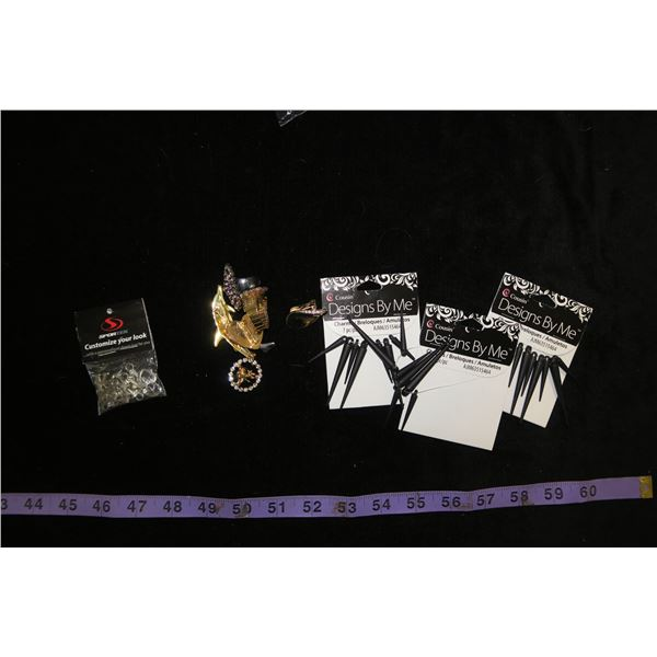 #1315 - Estate Costume Jewelry - Several Bags of Charms to make jewelry, assorted other items.