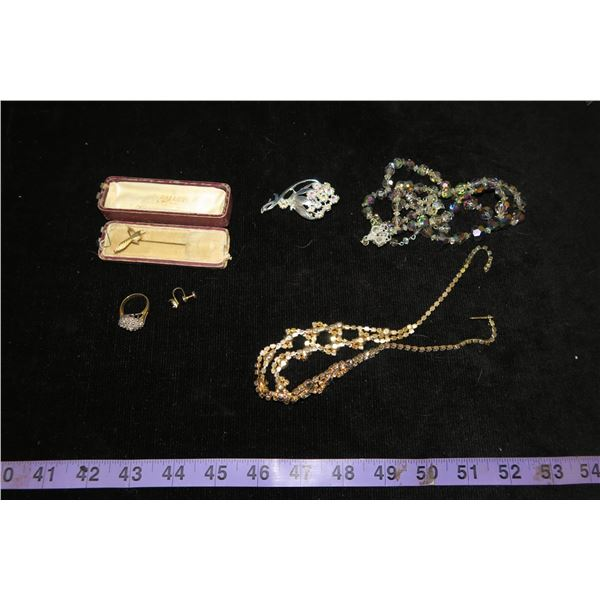 #1317 - Estate Costume Jewelry - 2 Continental Aurora Borealis Crystal Necklaces, ring & 2 pins