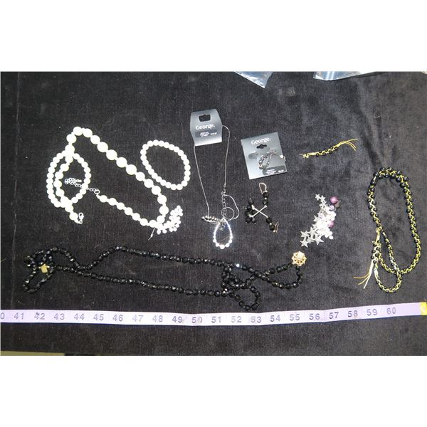 #1323 - Estate Costume Jewelry - Fake Pearl Necklace and earrings, purple/black bead earrings, star
