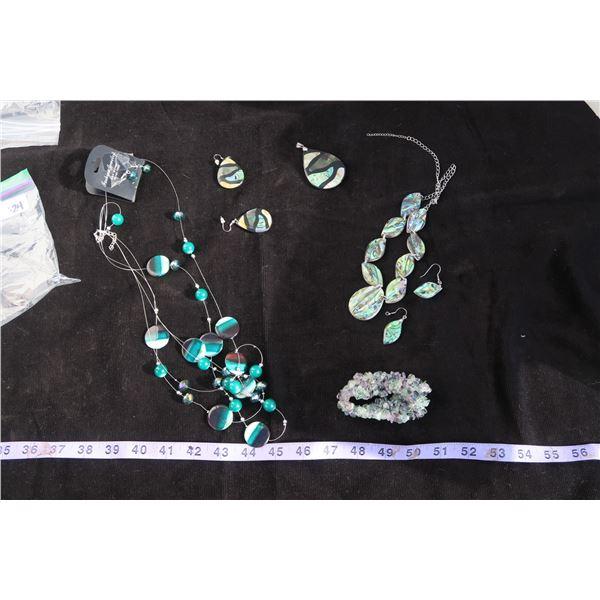 #1324 - Estate Costume Jewelry - Black & Green Beaded Necklace w/matching earrings, black teardrop