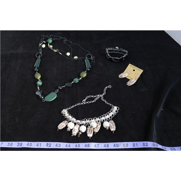 #1326 - Estate Costume Jewelry - Black Bracelet, Green & Black Beaded Necklace, Tan Bead silver  nec
