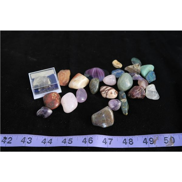 #1330 - Box of polished stones and specimen piece of Pyrite, Rock and Gem Book