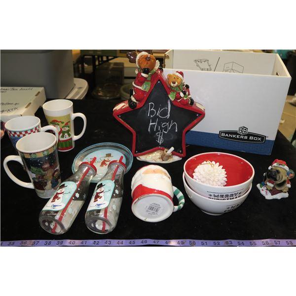 #1331 - Christmas Box, decorative items and kids santa set