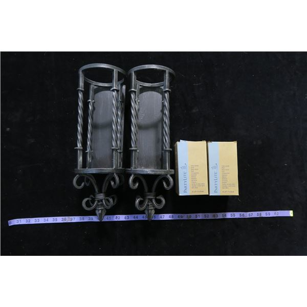 #1333 - 2 Wrought Iron Wall Sconces and 2 - 3x5 Pillars; Sea Breeze and Olive