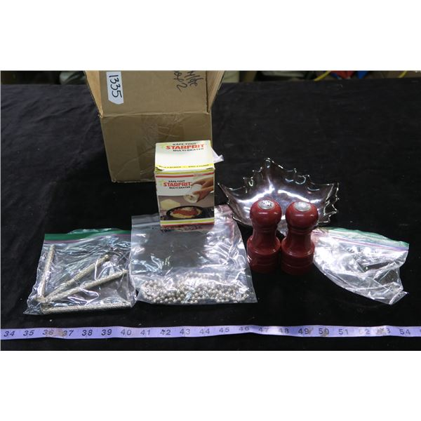 #1335 - Red S&P Shakers, Star Frit Multi Grater, Pastry Beads, 2 Vintage Nutcrackers and Leaf Platte