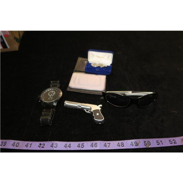 #1336 - Gun Butane Lighter, Oakland Raider Sunglasses, Dollar Sign Money Clip, ID Holder & Watch