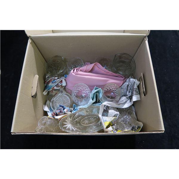 #1337 - Box of Vintage Mixed Glassware
