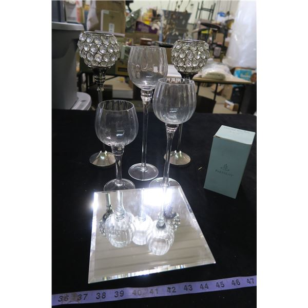 #1345 - Tiered Wineglass Trio Votive Holders, pair of Tealight Holders & Mirror Candle Tray and a  C