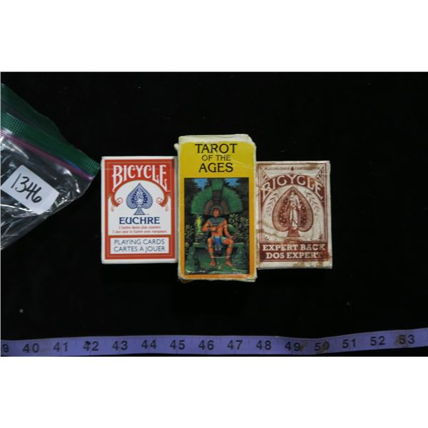 #1346 - 2 Decks of playing cards and an Old Deck of Tarot Cards