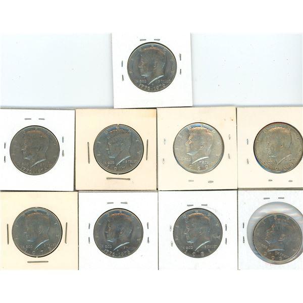 (9) 1968-1993 USA Half Dollar Coins