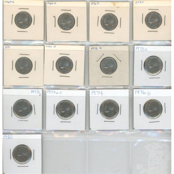 (13) 1969-1980 USA 5 Cent Coins