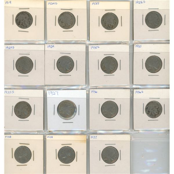 (15) 1919-1939 USA 5 Cent Coins