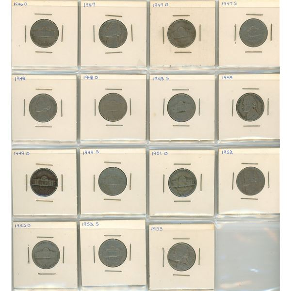 (15) 1946-1953 USA 5 Cent Coins