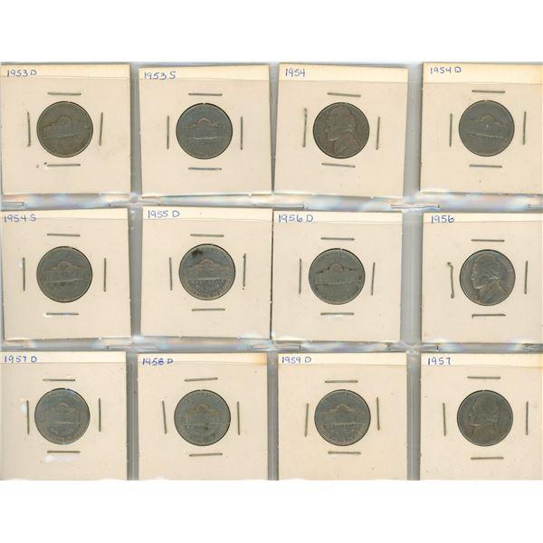 (12) 1953-1959 USA 5 Cent Coins
