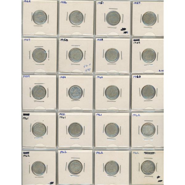 (20) 1955-1962 Canadian 10 Cent Coins