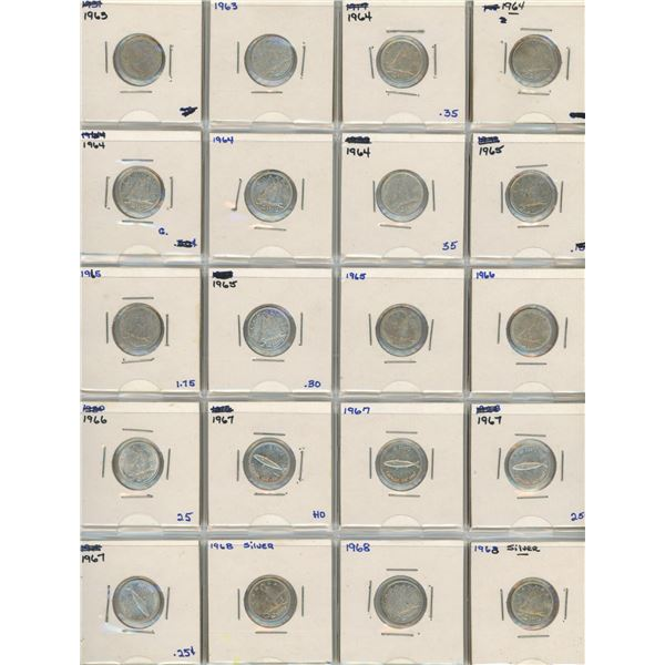 (20) 1963-1968 Canadian 10 Cent Coins