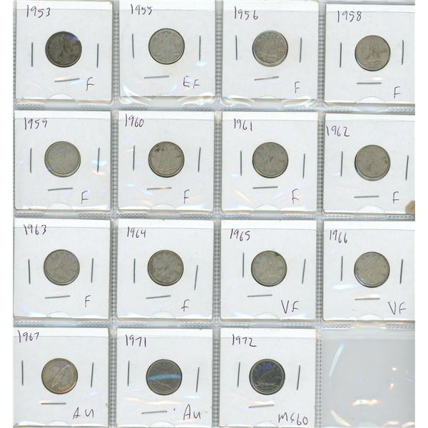 (15) 1953-1972 Canadian 10 Cent Coins