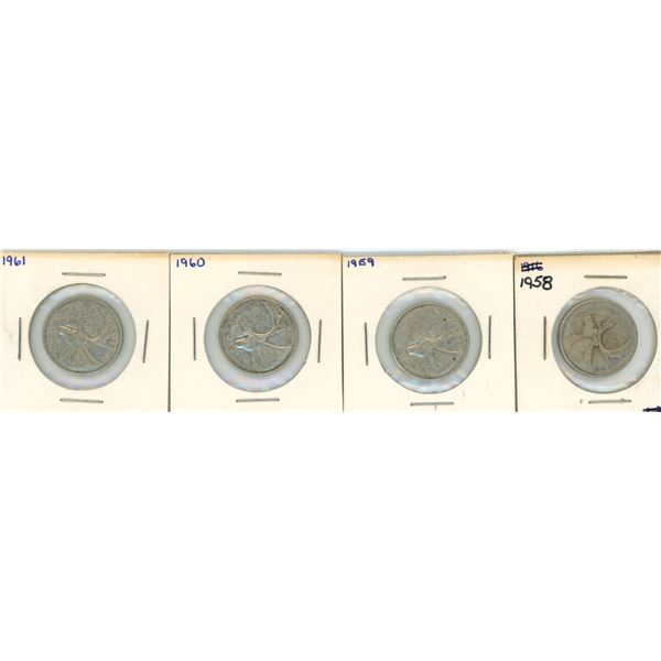 (4) 1958-1961 Canadian 25 Cent Coins