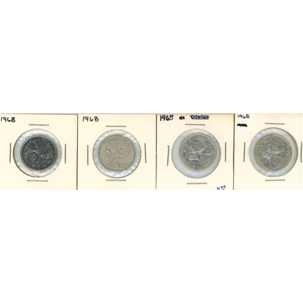 (4) 1968 Canadian 25 Cent Coins