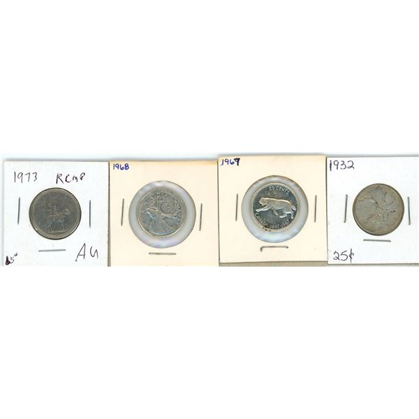 (4) 1932,1968,1967,1973 Canadian 25 Cent Coins