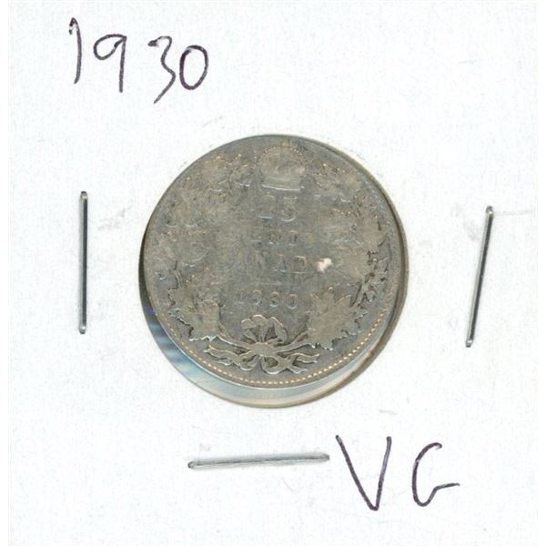 1930 Canadian 25 Cent Coin (VG)
