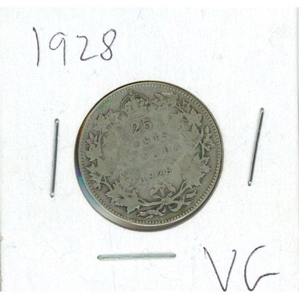 1928 Canadian 25 Cent Coin (VG)
