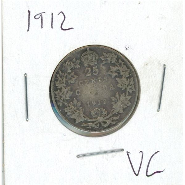1912 Canadian 25 Cent Coin (VG)
