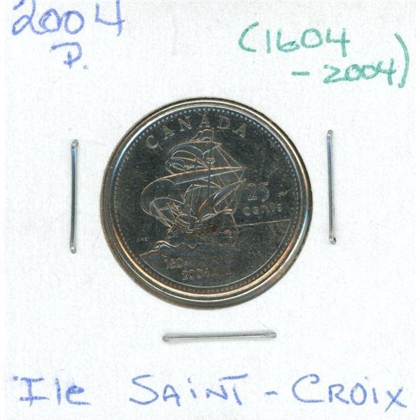2004-p Canadian 25 Cent Coin (1609-2004) (ILE Saint-Croix)