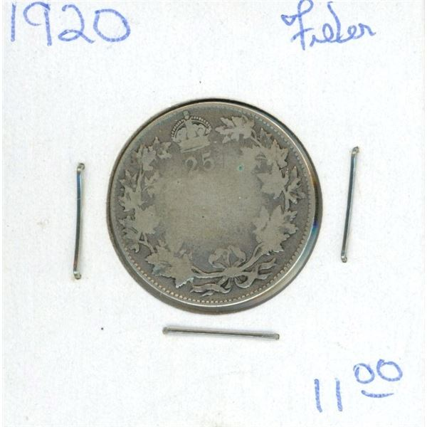 1920 Canadian 25 Cent Coin