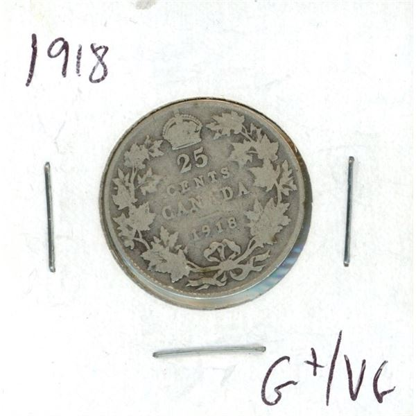 1918 Canadian 25 Cent Coin (G+/VG)