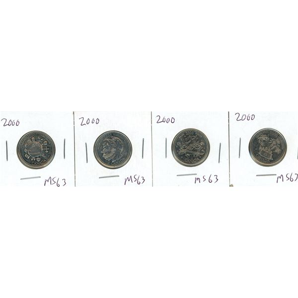 (4) 2000 Canadian 25 Cent Coins