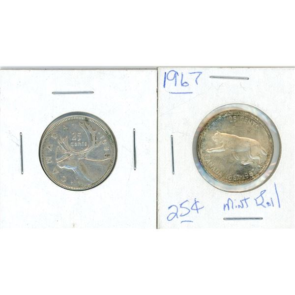 (2) 1938 + 1967 Canadian 25 Cent Coins (Mint Roll)