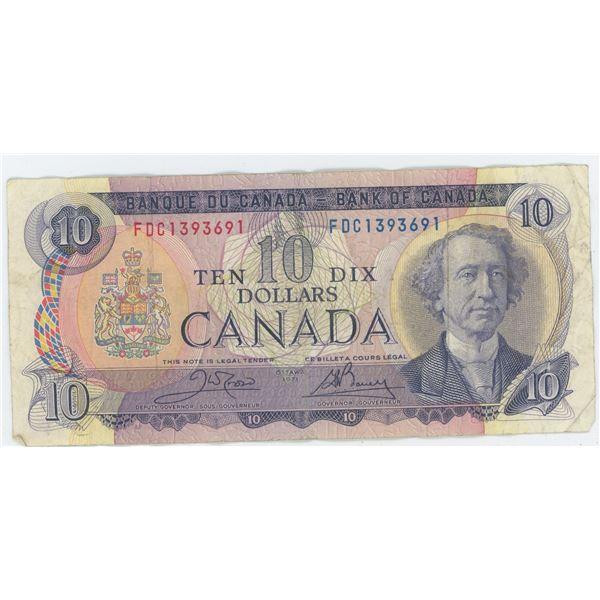 1971 Canadian 10 Dollar Bill