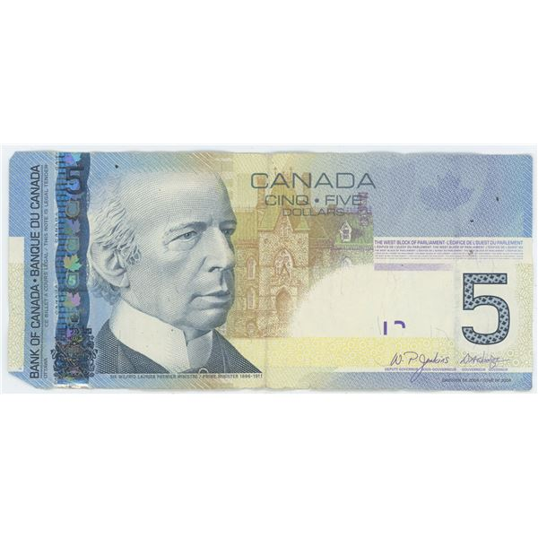 2006 Canadian 5 Dollar Bill