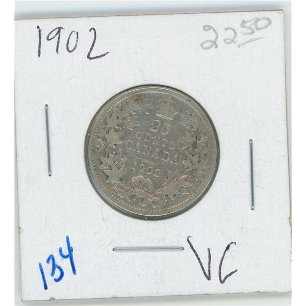 1902  Canadian 25 Cent Coin