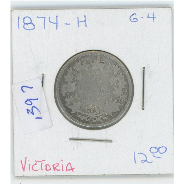 1874 Canadian 25 Cent Coin