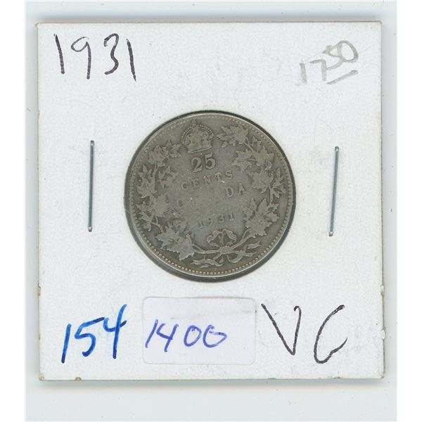 1931 Canadian 25 Cent Coin