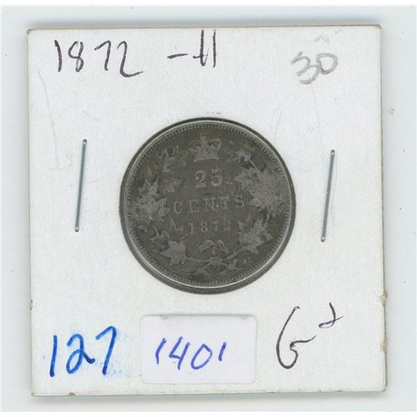 1872 Canadian 25 Cent Coin