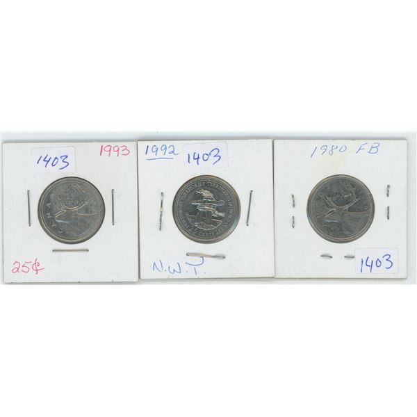 1980 & 1992 & 1993 Canadian 25 Cent Coins