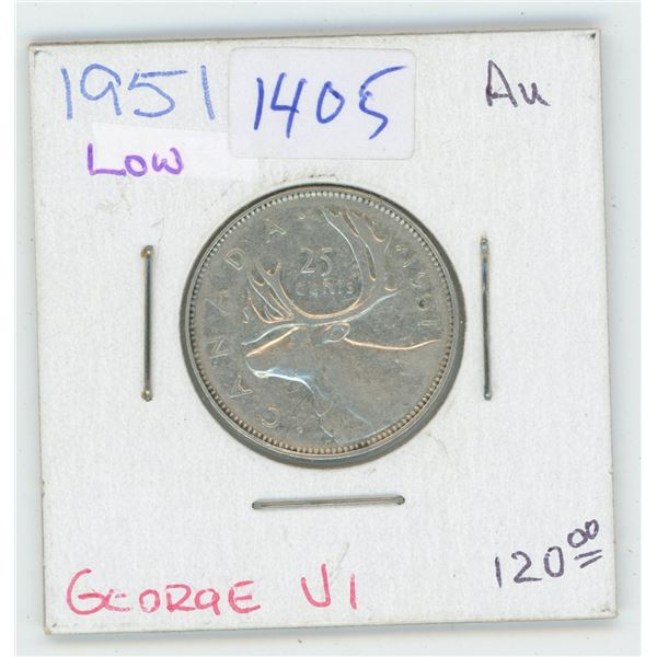 1951 Canadian 25 Cent Coin