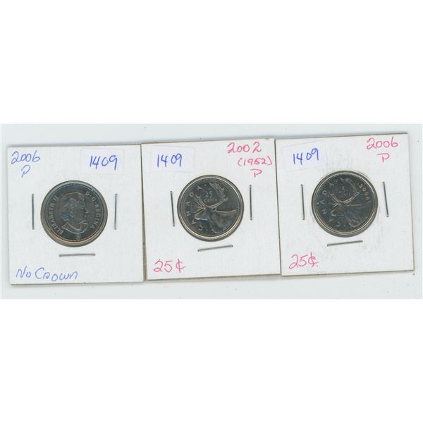2 X 2006 & 2002 Canadian 25 Cent Coins