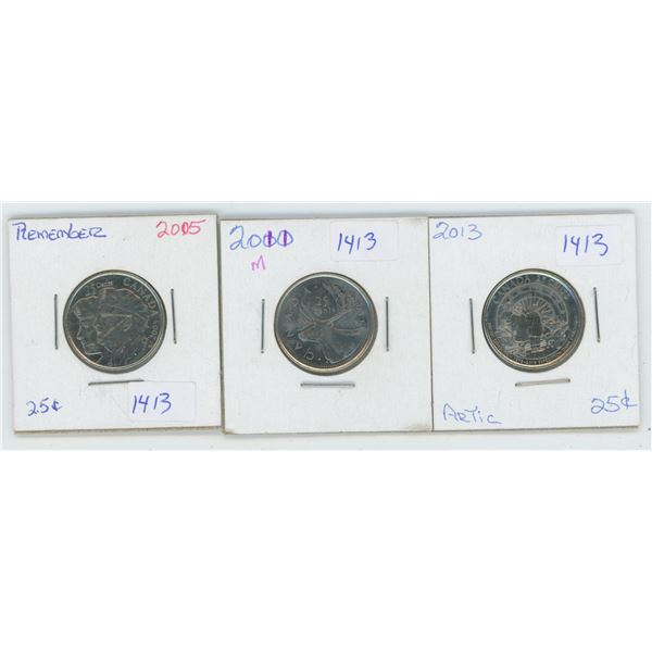 2005 & 2011 & 2013 Canadian 25 Cent Coins