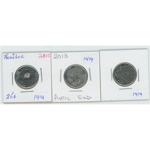 2005 & 1013 & 2015 Canadian 25 Cent Coins