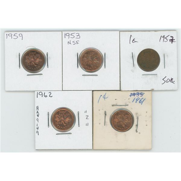 1953 & 57 & 59 & 61 & 62 Canadian 1 Cent Coins